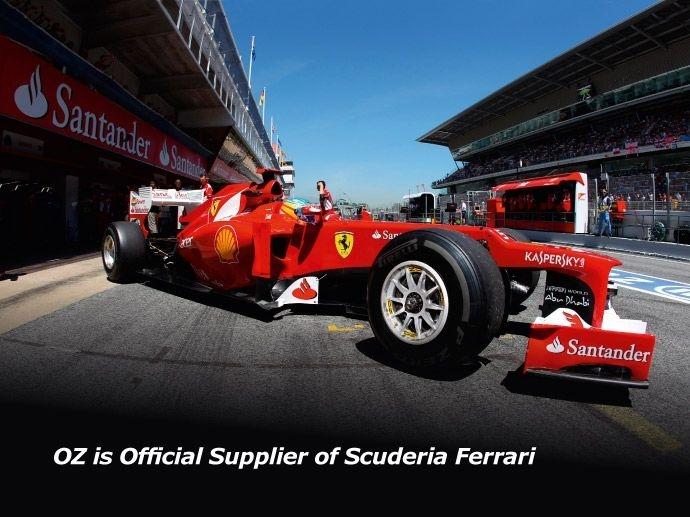 2012. Scuderia Ferrari sceglie OZ: la stagione 2012 segna l'inizio della partnership con Ferrari. OZ sviluppa e produce i cerchi delle monoposto di Fernando Alonso e Felipe Massa.