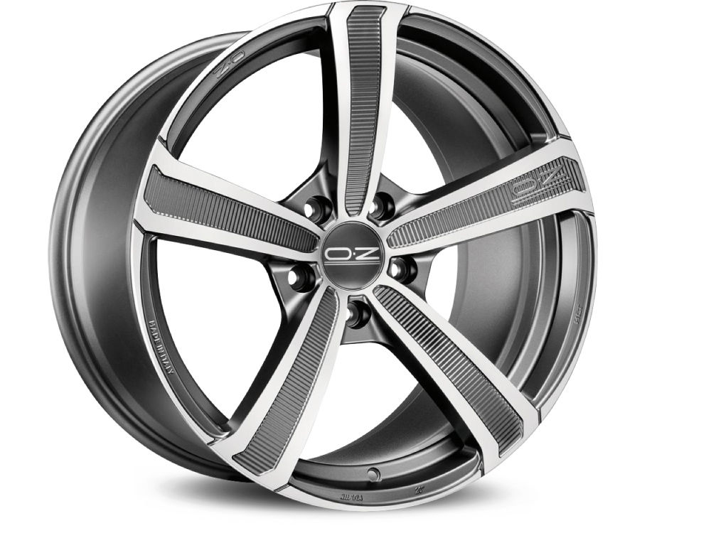 CERCHIO OZ MONTECARLO HLT 8,5X20 ET45 5X108 75 MATT DARK GRAPHITE DIAMOND CUT TUV/NAD