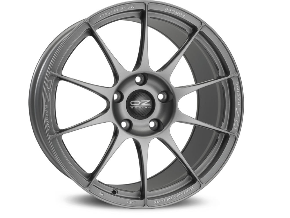 WHEEL OZ SUPERFORGIATA 10X19 ET23 5X120 72,56 GRIGIO CORSA CON SCRITTE DI FRESATURA