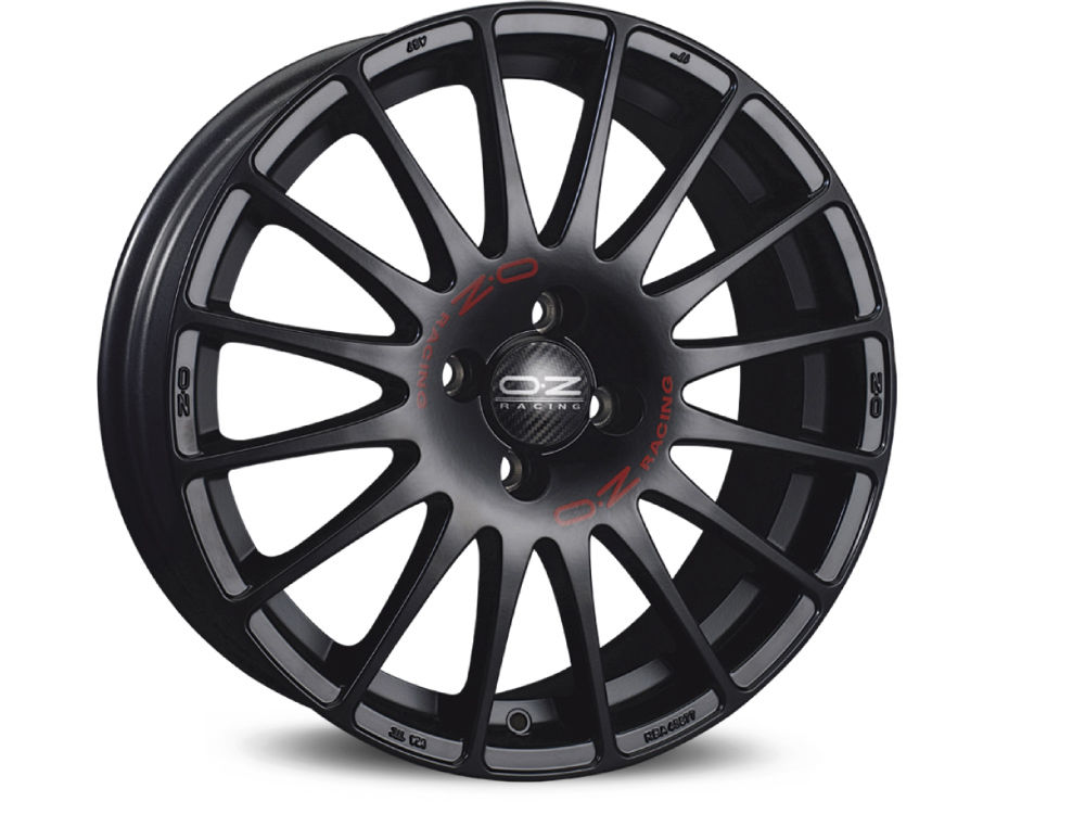 CERCHIO OZ SUPERTURISMO GT 8X18 ET40 5X108 75 MATT BLACK RED LETTERING TUV/NAD
